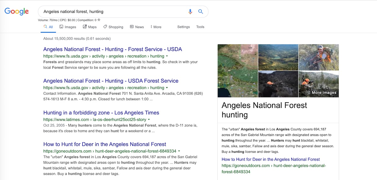 angeles national forest results page